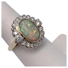1 CTW Diamond & Opal Ring 14K YG & Platinum  Size 7