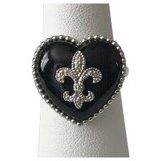 Sterling Silver   Fleur-de-Lis Black Onyx Ring Size 6