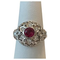18K WG | Gorgeous Ruby and Diamond Ring Size 7