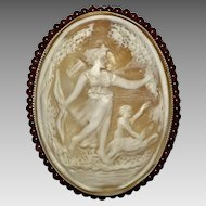 LARGE 14K YG Diana the Huntress Cameo Brooch with Garnets  Antique c1900