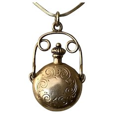 Antique Arts and Crafts | 14K YG Perfume Flask Pendant