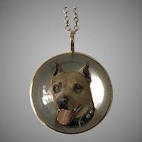 Striking! Antique 14K YG Essex Crystal Dog Pendant