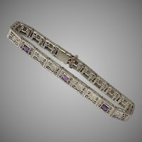 Deco Filigree Amethyst Bracelet 6-3/4 Inches