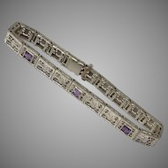 10K WG | Deco Filigree Bracelet with Amethyst Gemstones | 6-3/4 Inches