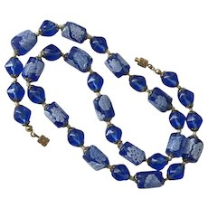Vintage | Blue & White Millefiori Glass Bead Necklace | 21-Inches | c1940/50 - Red Tag Sale Item