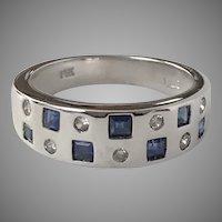 14K White Gold Blue Sapphire & Diamond Ring  Size 7