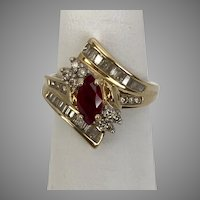 Ruby, Diamond, Ring  14K Yellow Gold, Size 7-1/4