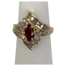 Ruby, Diamond, Ring  14K Yellow Gold, Size 7-1/4