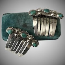 Sterling Silver | Royston Turquoise | Hair Combs