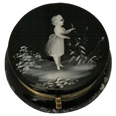 Victorian | Mary Gregory | Hand Painted Black Glass Box | Trinket Keeper