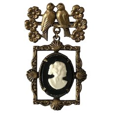 Victorian Love Birds and Cameo Pin