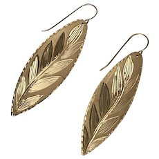 14K YG Vintage Leaf Earrings