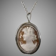 Sterling Silver | Vintage Shell Cameo Pendant/Pin with Sterling Silver 16-Inch Chain