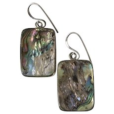 Beautiful   Sterling Silver Abalone Vintage Earrings