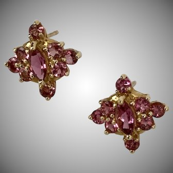 NICE! 14K YG | Pink Tourmaline Cluster Earrings