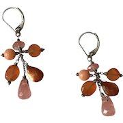 Sterling Silver Tourmaline & Chalcedony Dangle Bead Earrings