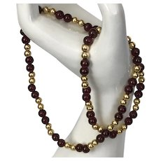 14K YG | Garnet and Gold Bead Necklace 18-1/2 Inches
