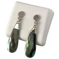 Sterling Silver   Thin & Sleek Abalone Shell Earrings