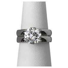 2.5CTW | Faux Diamond (CZ) Ring | Size 7  Sterling Silver  Vintage