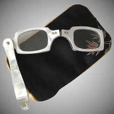 FABULOUS! 1950s | White Pearlized Faux MOP Opera Style Readers | Magnification 1.50 - 1.75