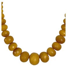 Large Mustard Yellow Faceted Agate Bead Necklace Vintage