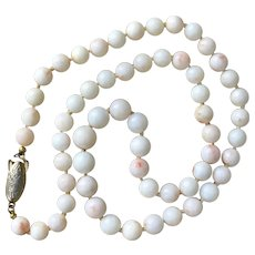 19-Inch   Angel Skin Coral Bead Necklace Vintage - Red Tag Sale Item