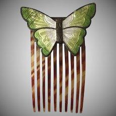 Vintage Enamel Butterfly Hair Comb/Clip