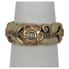 Art Nouveau | 18K YG  Enamel & Diamond Ring Size 5-1/2