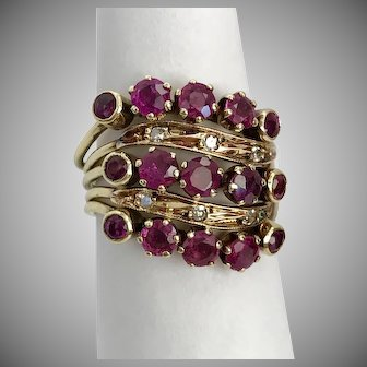 French Antique/Vintage 14K YG Ruby and Diamond Harem Ring Size 6-6-1/2