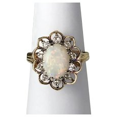 Vintage 14K YG Diamond & Opal Ring Size 6