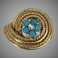 GORGEOUS! 18K YG Art Deco Persian Turquoise & Diamond Ring Size 7-1/4