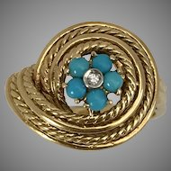 GORGEOUS! 18K YG Art Deco Persian Turquoise & Diamond Ring Size 7-1/4