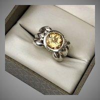 LARGE Vintage Sterling Silver Citrine Ring Size 8-1/2