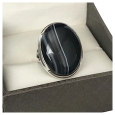 LARGE Banded Black Agate Ring Sterling Silver Size 8