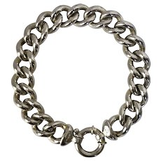 41.4 GRAMS! Unisex Sterling Silver Curb Link Italian Bracelet 8-3/4 Inches