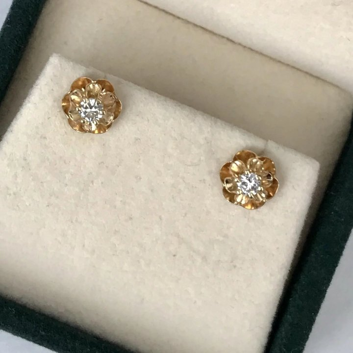503f27df4 Vintage 14K YG Diamond Stud Earrings : Ann-tiques and Fine Jewelry ...
