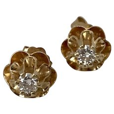 Vintage 14K YG Diamond Stud Earrings