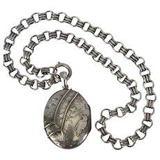 English Silver Victorian Collar and Locket