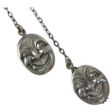 Slap-Happy Moon Face Man Sterling Silver Clips