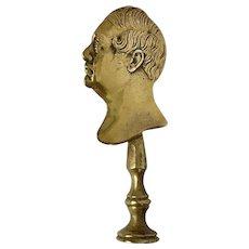 Fabulous Antique Figural Brass Wax Seal