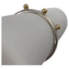 24K/YG Sterling Silver Skinny Bead Ring Size 5 -1/2