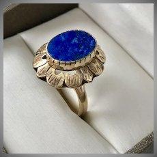 Vintage 14K YG Lapis Lazuli Ring