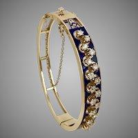 2.00CTW  23.4 Grams Victorian Revival Diamond & Enamel Hinged Bangle, 14K YG