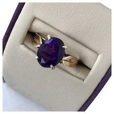 14K YG Vintage Amethyst Ring