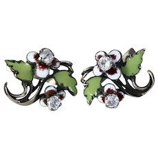 Edwardian Enamel Pansy &  Diamond Paste Earrings - Red Tag Sale Item
