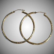 14K YG 1-1/2 Inch Hoop Earrings