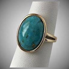 14K YG Turquoise Cabochon Ring Size 8-1/4