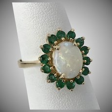 Estate Opal and Emerald Ring 14K YG Size 8