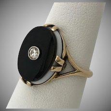 DECO Banded Black Onyx Ring with Diamond 14K YG Size 6