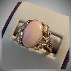 14K YG Nouveau-Style Coral Cabochon Ring Size 6-1/2